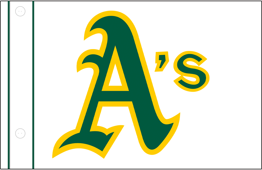 Oakland Athletics Logo Jersey Logo (1981-1984) - A's in green and gold on a white button-up jersey with green piping, worn at home as an alternate by the Oakland Athletics from 1981 to 1984 SportsLogos.Net
