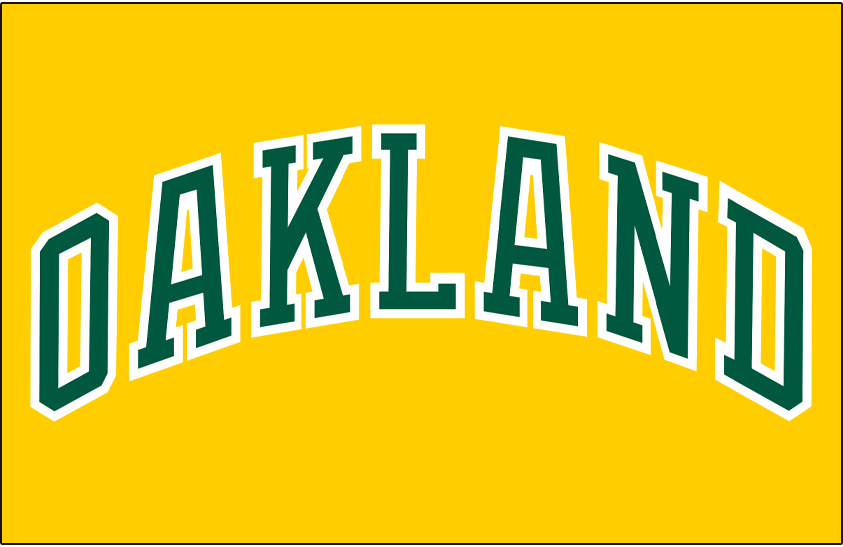 Oakland Athletics Logo Jersey Logo (1981-1986) - OAKLAND arched in green and white on a gold pullover jersey, worn at home and the road as an alternate jersey from 1981 to 1986 SportsLogos.Net