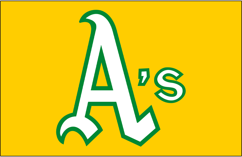 Oakland Athletics Logo Jersey Logo (1972) - A's in white and green on a gold pullover jersey, worn for both home and road games on Oakland Athletics yellow jersey in 1972 SportsLogos.Net