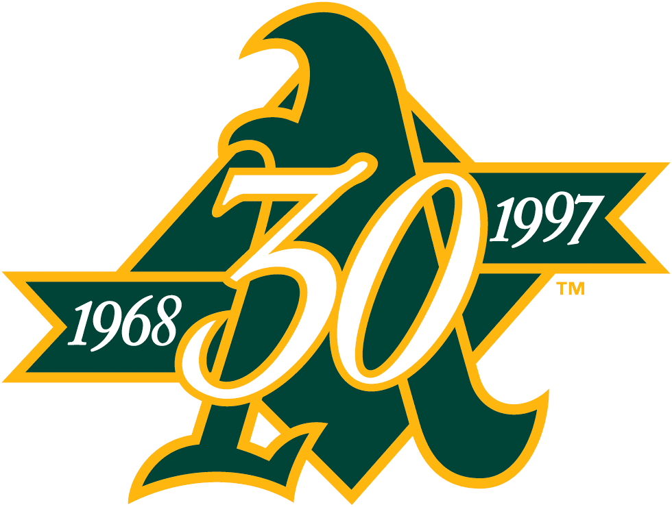 Oakland Athletics Logo Anniversary Logo (1997) - 30th Anniversary of the Oakland Athletics SportsLogos.Net
