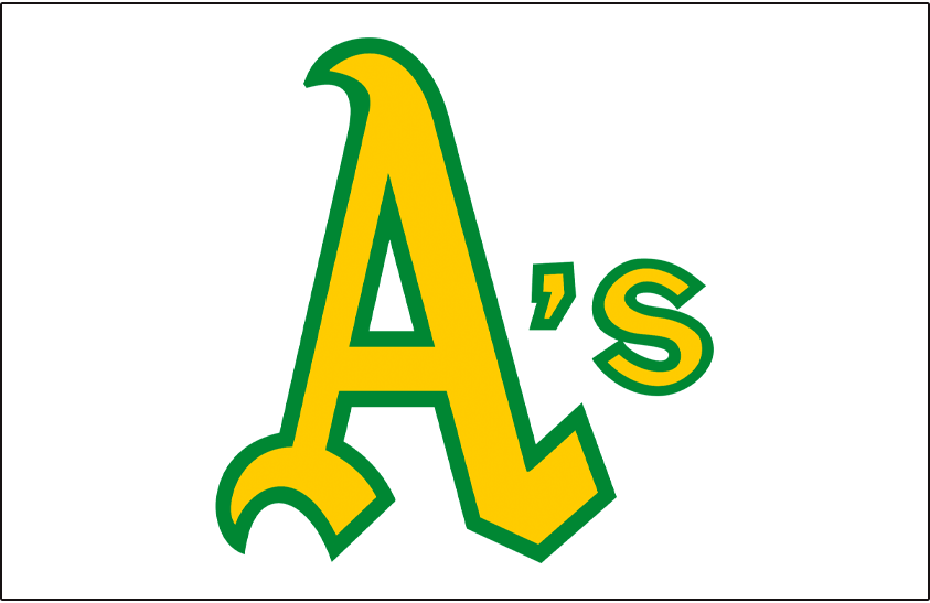 Oakland Athletics Logo Jersey Logo (1972) - A's in gold and green on a white pullover jersey, worn on Oakland Athletics home white jersey in 1972 SportsLogos.Net