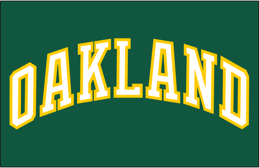 Oakland Athletics Logo Jersey Logo (1983-1986) - OAKLAND arched in white and gold on a green pullover jersey, worn at home and on the road from 1983 to 1986 SportsLogos.Net