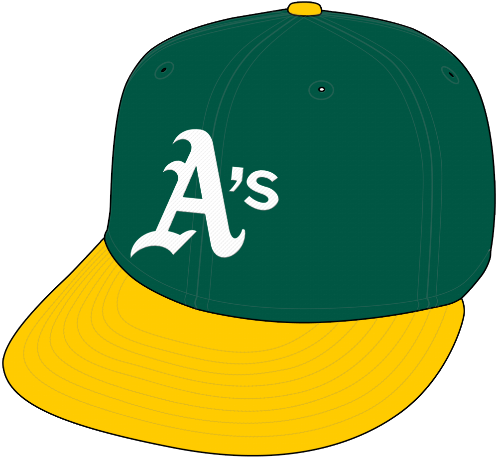 Oakland Athletics Cap Cap (1982-1992) - White A's on green cap with yellow visor SportsLogos.Net