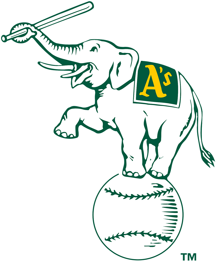 Oakland Athletics Logo Alternate Logo (1988) - A white elephant standing on a ball holding a baseball bat with its trunk, a green banner reading A's on its back SportsLogos.Net