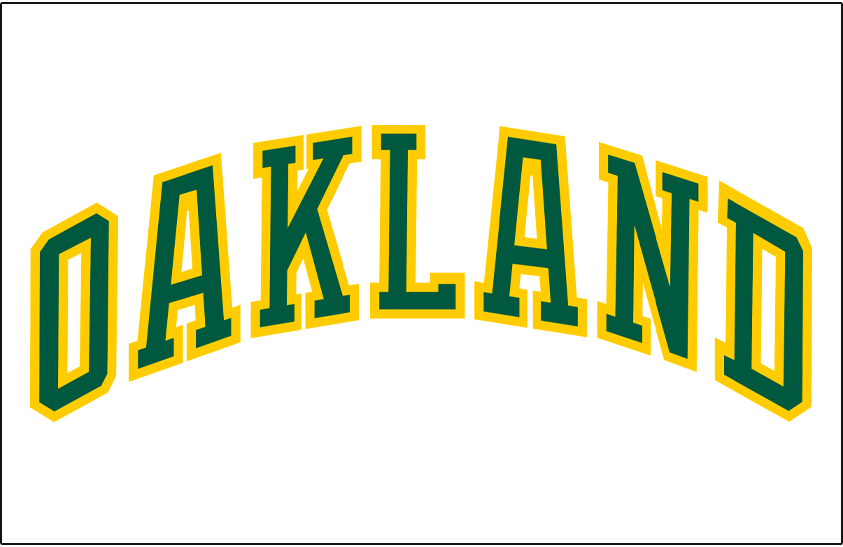Oakland Athletics Logo Jersey Logo (1981-1986) - OAKLAND arched in green and gold on a white pullover jersey, worn at home first as an alternate then as the full-time home jersey by the Oakland Athletics from 1981 to 1986 SportsLogos.Net