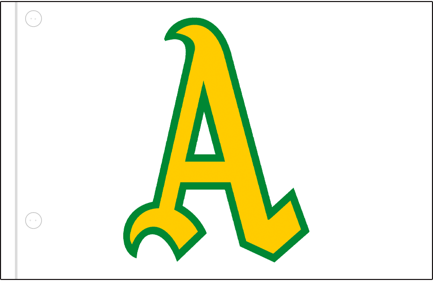 Oakland Athletics Logo Jersey Logo (1969) - Gold and green A on a white jersey, worn on upper left corner of Athletics home jersey in 1969 SportsLogos.Net