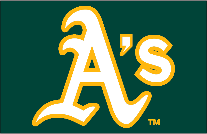 Oakland Athletics Logo Cap Logo (2014-Pres) - A's in white with gold trim on green - worn on Oakland Athletics road caps starting in 2014 SportsLogos.Net