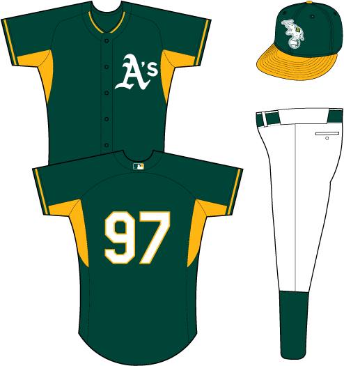 Oakland Athletics Uniform Practice Uniform (2014-Pres) - A's in white on the left chest of a green uniform with yellow underarms and piping SportsLogos.Net