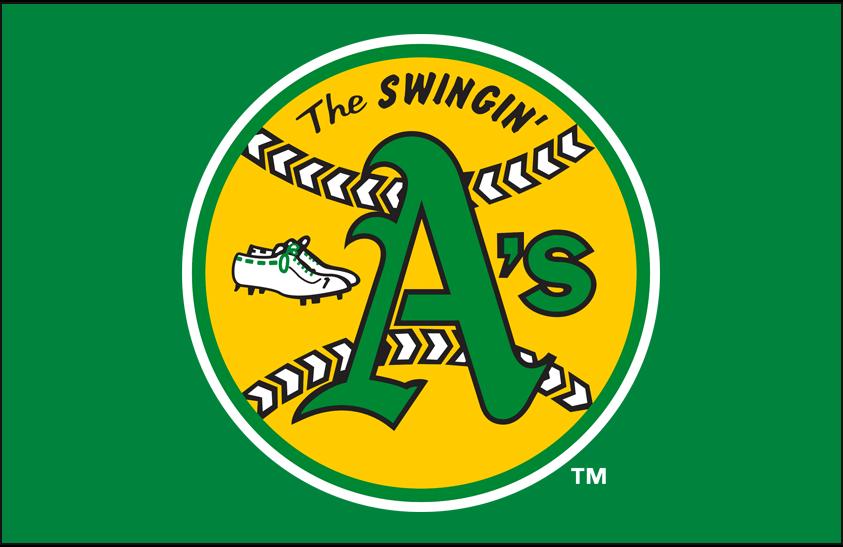 Oakland Athletics Logo Primary Dark Logo (1971-1981) - Oakland Athletics 'The Swingin A's' 1970s World Series era primary logo on kelly green SportsLogos.Net