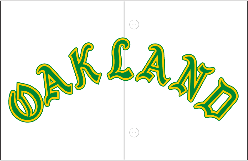 Oakland Athletics Logo Jersey Logo (1968) - OAKLAND arched in green and gold in an olde-english style font on a white jersey, worn on Athletics home jersey during the 1968 season only SportsLogos.Net