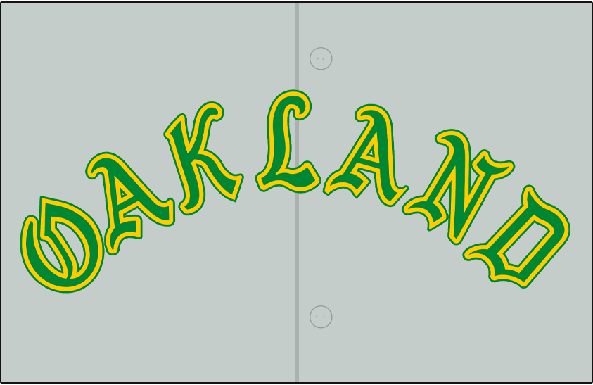 Oakland Athletics Logo Jersey Logo (1968) - OAKLAND arched in green and gold in an olde-english style font on a grey jersey, worn on Athletics road jersey in 1968 SportsLogos.Net