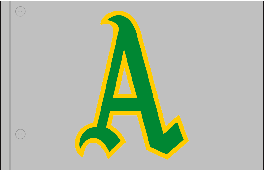 Oakland Athletics Logo Jersey Logo (1969) - Green and gold A on a grey jersey, worn on upper left corner of Athletics road jersey in 1969 SportsLogos.Net