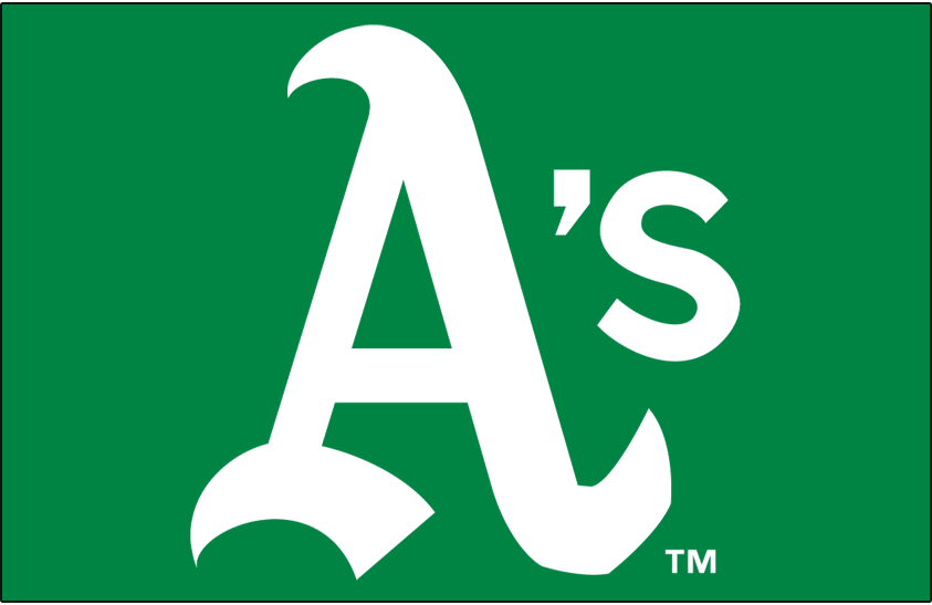 Oakland Athletics Logo Cap Logo (1970-1972) - White A's on green SportsLogos.Net