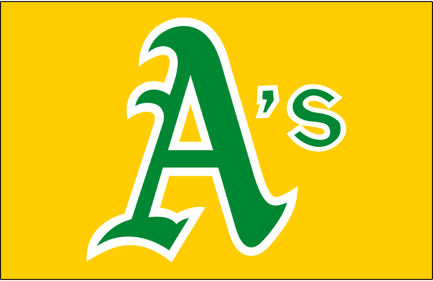 Oakland Athletics Logo Jersey Logo (1973-1980) - A's in green and white on a gold pullover jersey, worn at home and on the road on the Oakland Athletics gold jerseys from 1973 to 1980 SportsLogos.Net