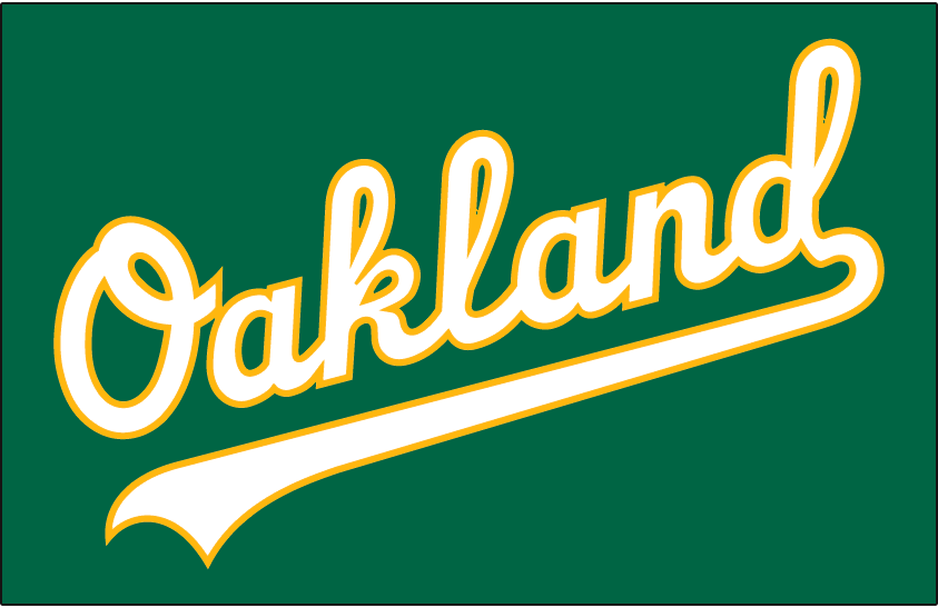 Oakland Athletics Logo Jersey Logo (2018-Pres) - Oakland in white with gold trim on kelly green jersey, worn as anniversary alternate jersey for Friday home games in 2018 SportsLogos.Net