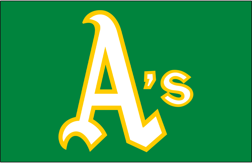 Oakland Athletics Logo Jersey Logo (1972) - A's in white and gold on a green pullover jersey, worn for both home and road games on Oakland Athletics green jersey in 1972 SportsLogos.Net