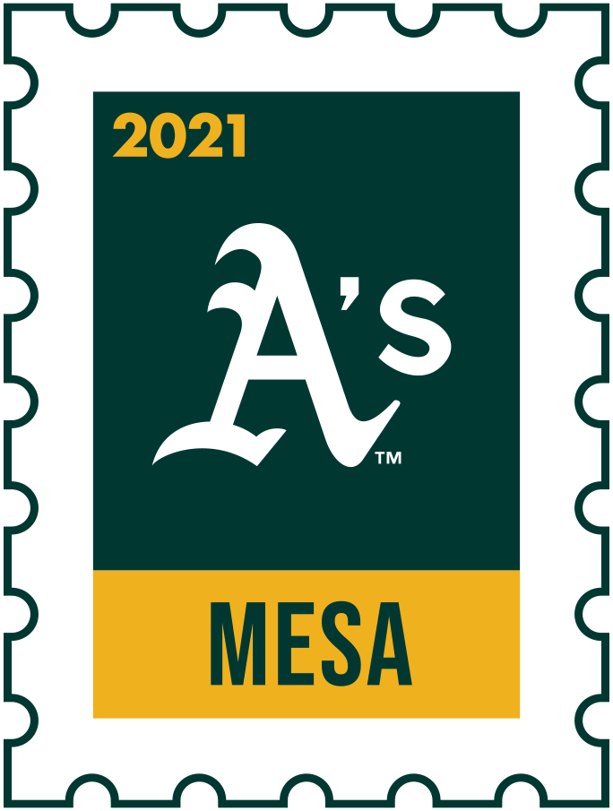 Oakland Athletics Logo Event Logo (2021) - The Oakland Athletics 2021 Spring Training logo, the design follows a league-wide style using a postage stamp in team colours with the team logo in the middle. SportsLogos.Net