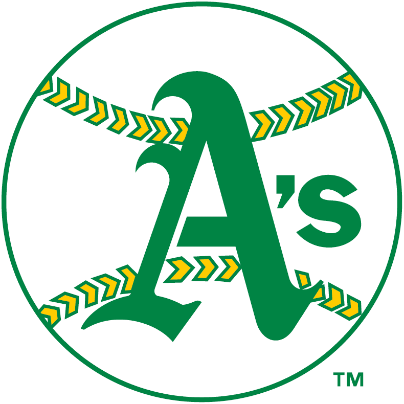 Oakland Athletics Logo Primary Logo (1968-1970) - Green A on a white baseball with green and yellow stitching SportsLogos.Net