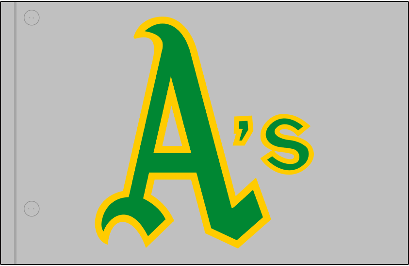Oakland Athletics Logo Jersey Logo (1970-1971) - A's in green and gold on a grey jersey, worn on Oakland Athletics road jersey in 1970 and 1971 SportsLogos.Net