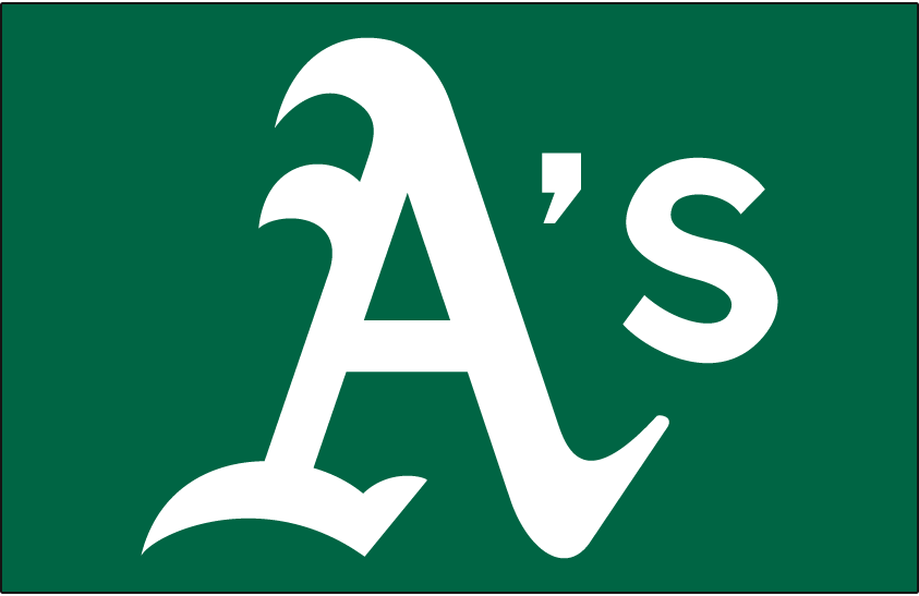 Oakland Athletics Logo Cap Logo (2018-Pres) - A's in white on kelly green, worn as anniversary alternate cap for Friday home games in 2018 SportsLogos.Net