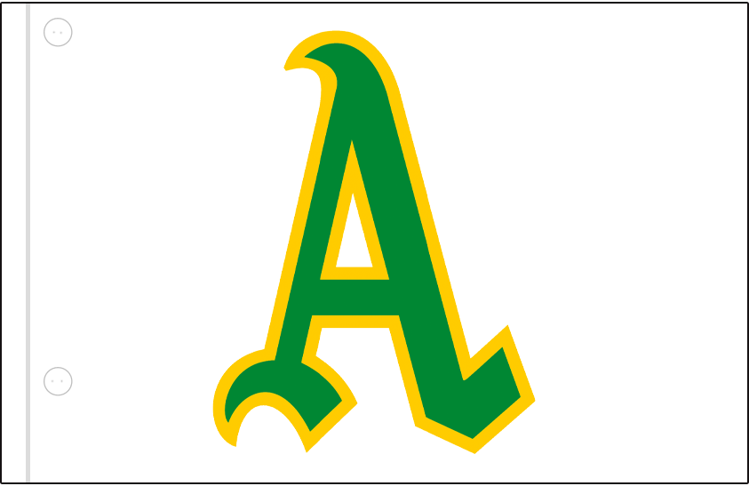 Oakland Athletics Logo Jersey Logo (1969) - Green and gold A on a white jersey, worn on upper left corner of Athletics home jersey in 1969 SportsLogos.Net