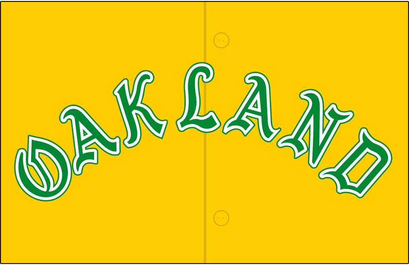 Oakland Athletics Logo Jersey Logo (1968) - OAKLAND arched in green and white in an olde-english style font on a gold jersey, worn on Athletics alternate gold jersey in 1968 SportsLogos.Net