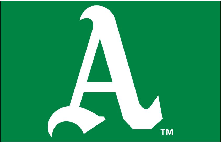 Oakland Athletics Logo Cap Logo (1968-1969) - White A on green SportsLogos.Net