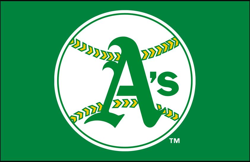 Oakland Athletics Logo Primary Dark Logo (1968-1970) - Oakland Athletics original primary logo on kelly green SportsLogos.Net