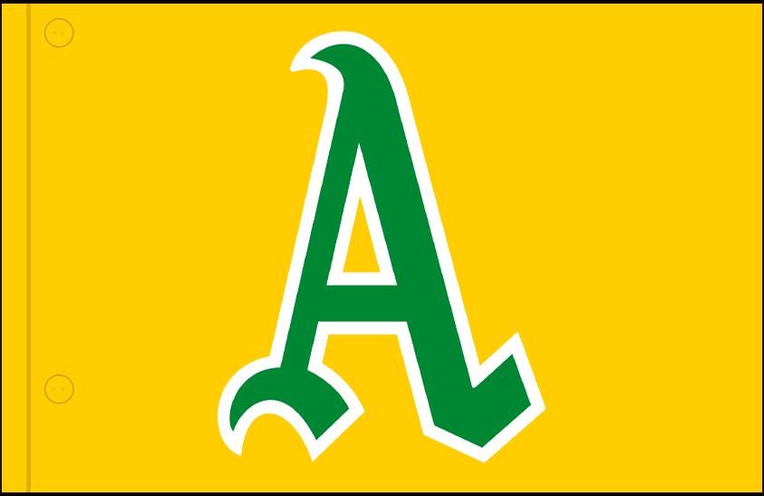 Oakland Athletics Logo Jersey Logo (1969) - Green and white A on a gold jersey, worn on upper left corner of Athletics alternate jersey in 1969 SportsLogos.Net