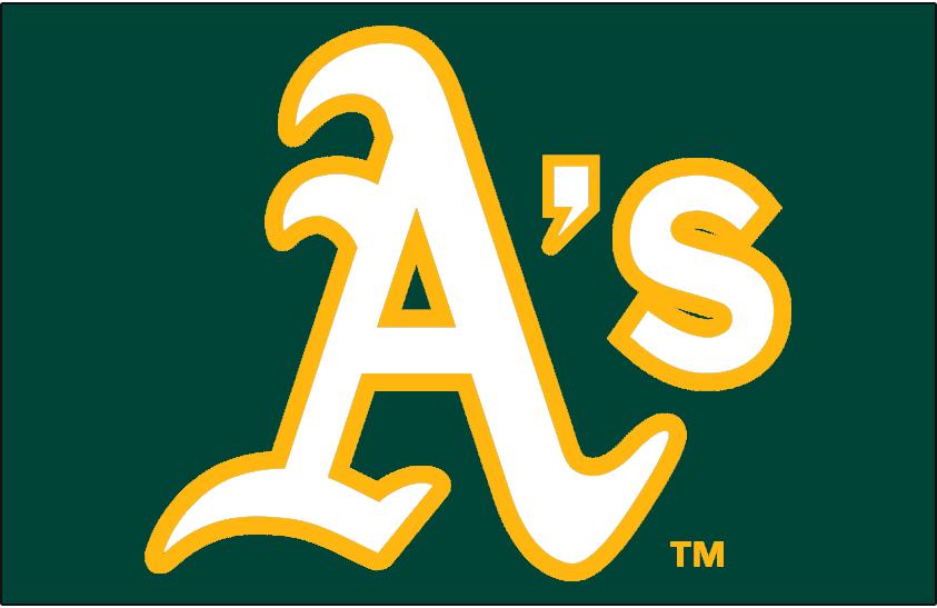 Oakland Athletics Logo Jersey Logo (2014-Pres) - A's in white with gold trim on green - worn on Oakland Athletics green alternate jerseys starting in 2014 SportsLogos.Net