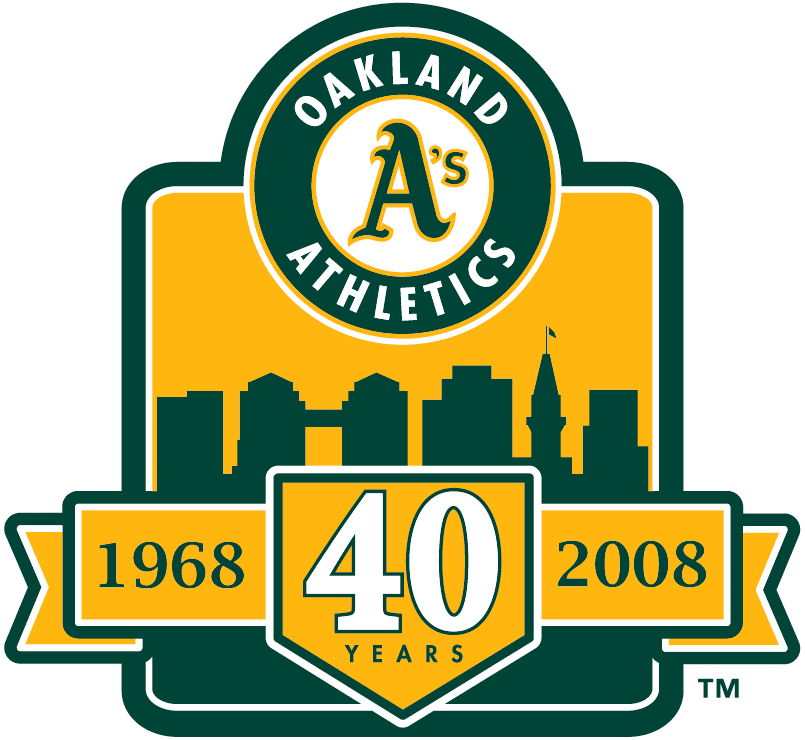 Oakland Athletics Logo Anniversary Logo (2008) - 40th Anniversary of the Oakland Athletics SportsLogos.Net