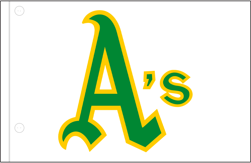 Oakland Athletics Logo Jersey Logo (1970-1971) - A's in green and gold on a white jersey, worn on Oakland Athletics home jersey in 1970 and 1971 SportsLogos.Net