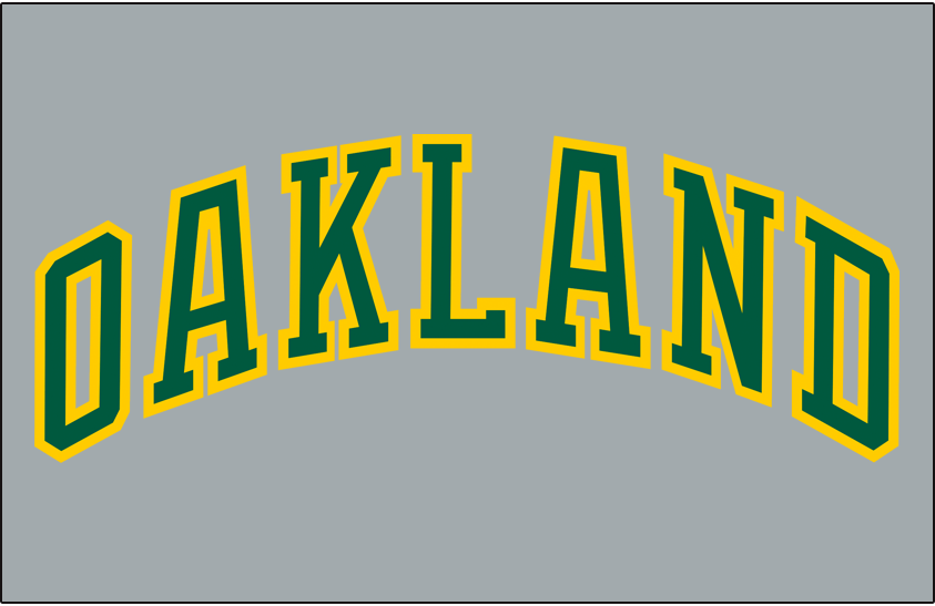 Oakland Athletics Logo Jersey Logo (1982-1984) - OAKLAND arched in green and gold on a grey pullover jersey, worn on the road as an alternate jersey from 1982 to 1984 SportsLogos.Net