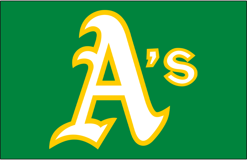 Oakland Athletics Logo Jersey Logo (1973-1982) - A's in white and gold on a green pullover jersey, worn at home and on the road on the Oakland Athletics green jerseys from 1973 to 1982 SportsLogos.Net
