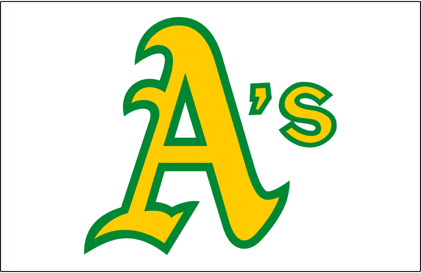 Oakland Athletics Logo Jersey Logo (1973-1982) - A's in gold and green on a white pullover jersey, worn at home on the Oakland Athletics white jerseys from 1973 to 1982 SportsLogos.Net