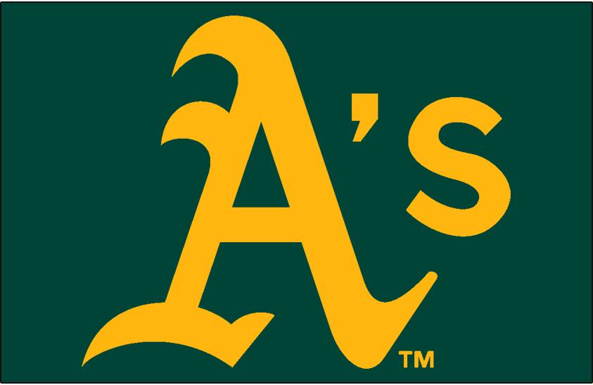 Oakland Athletics Logo Cap Logo (1994-2013) - A's in gold on green, worn on the Oakland Athletics road cap from 1994-2013 SportsLogos.Net