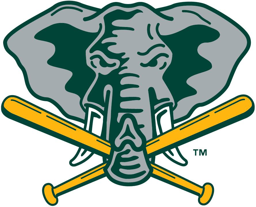 Oakland Athletics Logo Alternate Logo (1993-1994) - Elephant holding baseball bats with trunk on yellow SportsLogos.Net