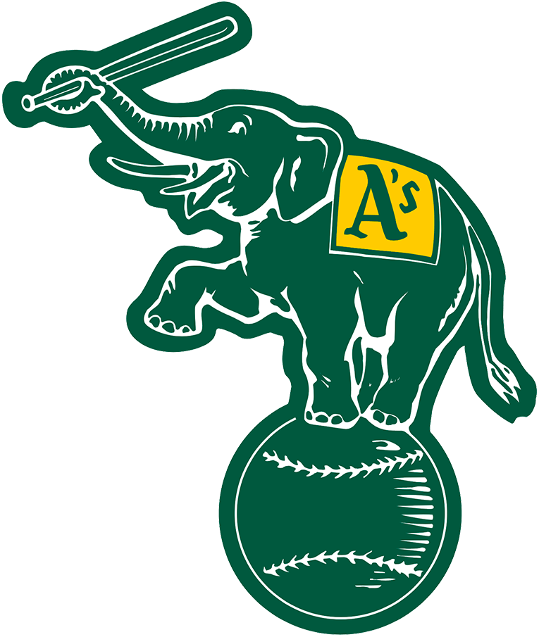Oakland Athletics Logo Alternate Logo (1988-1992) - Elephant holding a bat, standing on a baseball in forest green SportsLogos.Net