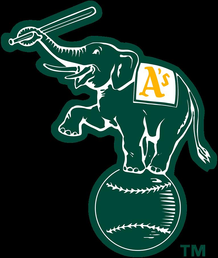 Oakland Athletics Logo Alternate Logo (1995-Pres) - Elephant holding a bat, standing on a baseball in forest green SportsLogos.Net