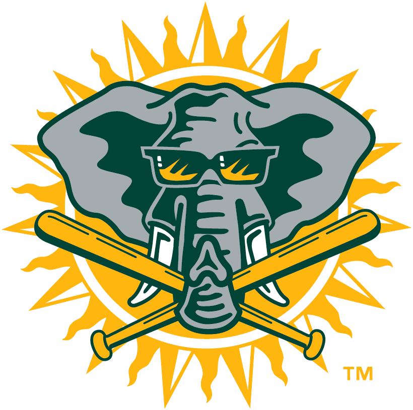 Oakland Athletics Logo Alternate Logo (1994-2002) - Elephant with sunglasses and two bats on a sun SportsLogos.Net