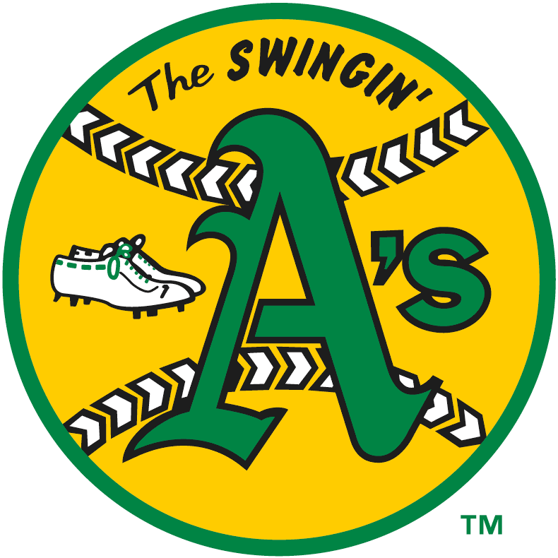 Oakland Athletics Logo Primary Logo (1971-1981) - Kelly green A's on yellow baseball with sneakers and swingin' SportsLogos.Net