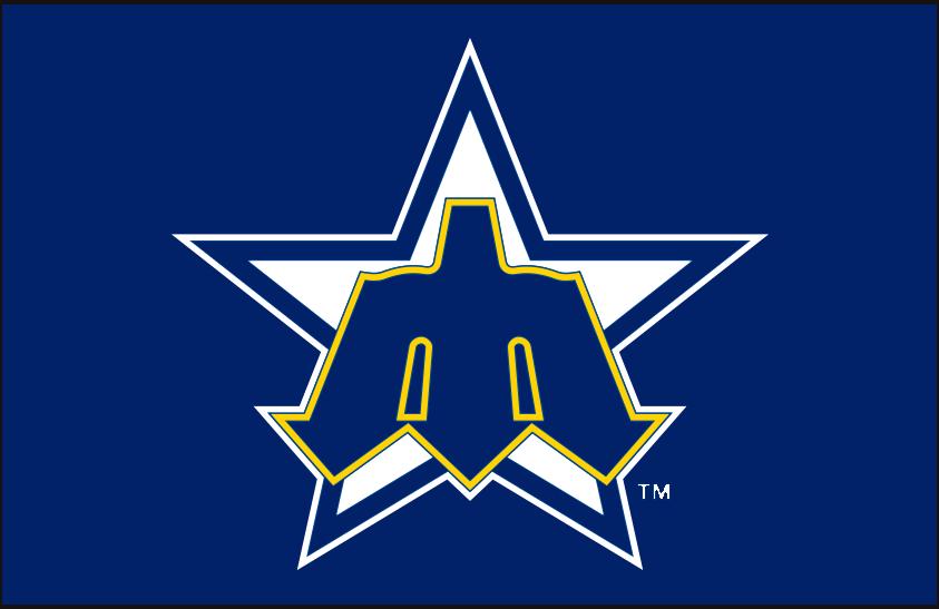 Seattle Mariners Logo Primary Dark Logo (1981-1986) - Seattle Mariners primary star M logo on royal blue SportsLogos.Net
