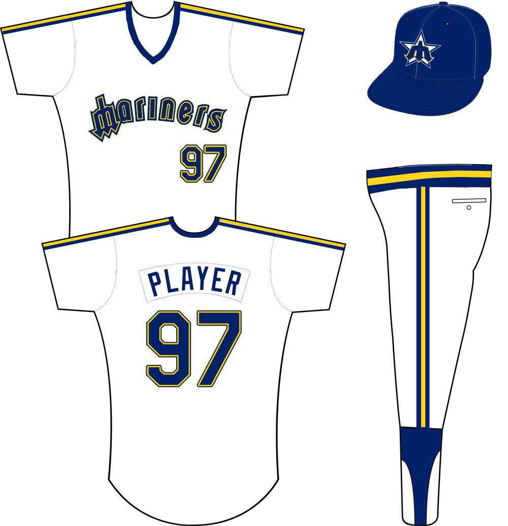 Seattle Mariners Uniform Home Uniform (1981-1986) - Mariners in blue and yellow with a trident for an M, blue and yellow stripes on each shoulder. Pullover jersey with elastic waistband pants. SportsLogos.Net