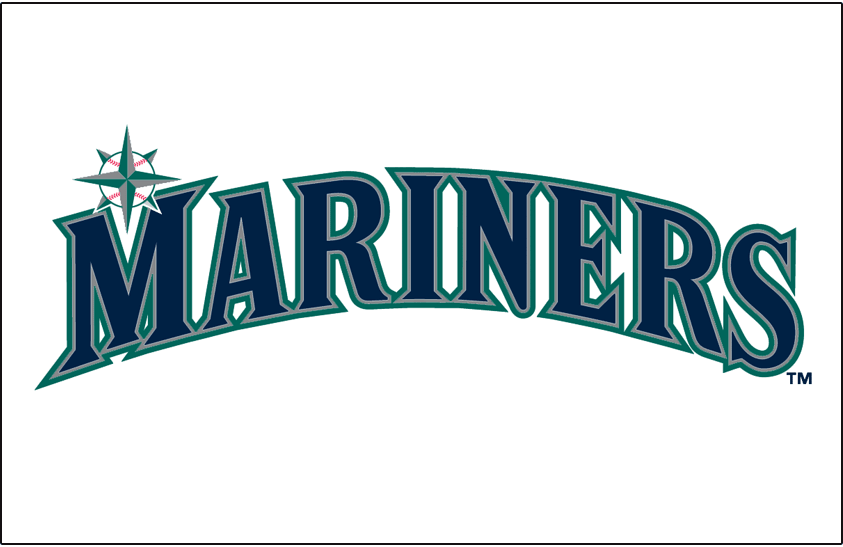 Seattle Mariners Logo Jersey Logo (2015-Pres) - Mariners in blue, silver, and teal on white. Trim colour changed from version used 1993-2014. Worn on Seattle Mariners home jersey starting in 2015 SportsLogos.Net