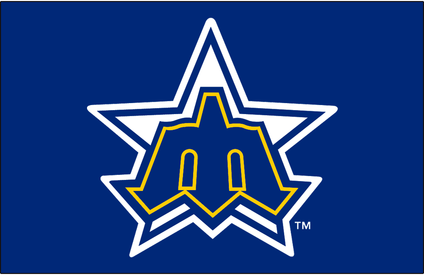 Seattle Mariners Logo Cap Logo (1981-1986) - A blue and yellow trident on a white and blue star SportsLogos.Net