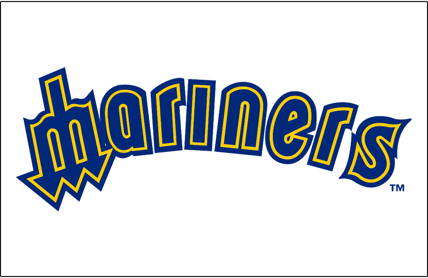 Seattle Mariners Logo Jersey Logo (1981-1986) - Mariners in blue with yellow and blue outlines (M as a trident). Worn on Seattle Mariners home uniform frmo 1981-86 SportsLogos.Net