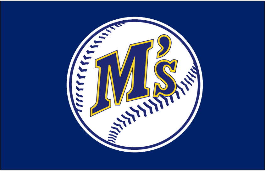 Seattle Mariners Logo Batting Practice Logo (1987-1989) - Seattle Mariners primary logo of the era on a blue jersey with white outline, worn on front of Mariners batting practice jerseys from 1987-1989 SportsLogos.Net