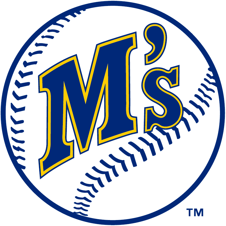 Seattle Mariners Logo Primary Logo (1987-1992) - M's in blue with yellow outline on a baseball SportsLogos.Net