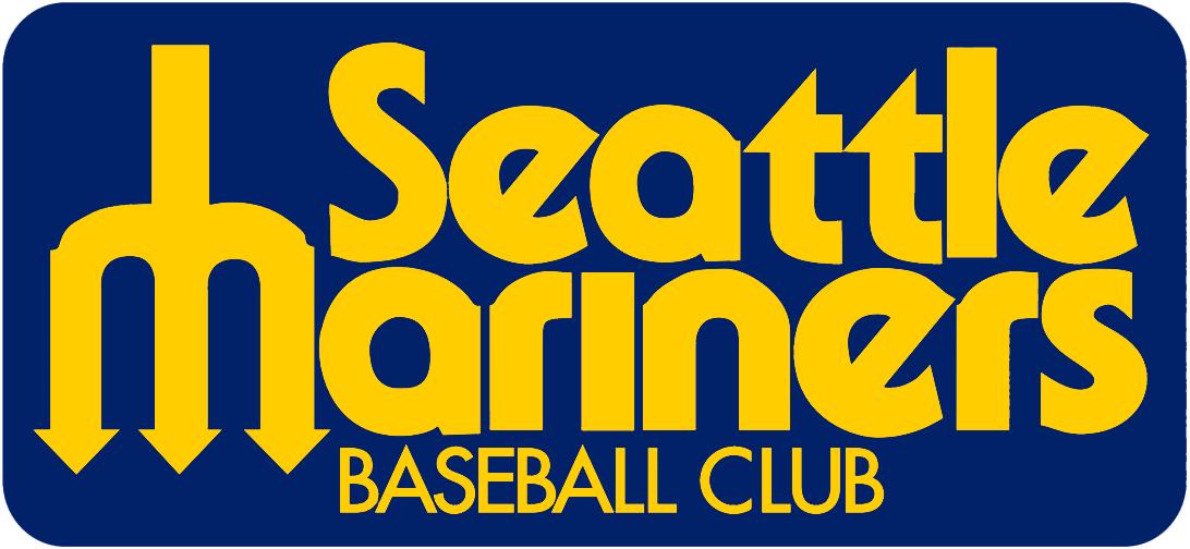 Seattle Mariners Logo Wordmark Logo (1977-1979) - Seattle Mariners Baseball Club in yellow with pitchfork M on blue SportsLogos.Net