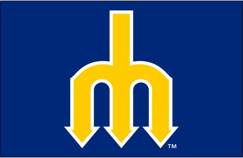 Seattle Mariners Logo Cap Logo (1977-1980) - Yellow pitchfork forming m on blue SportsLogos.Net